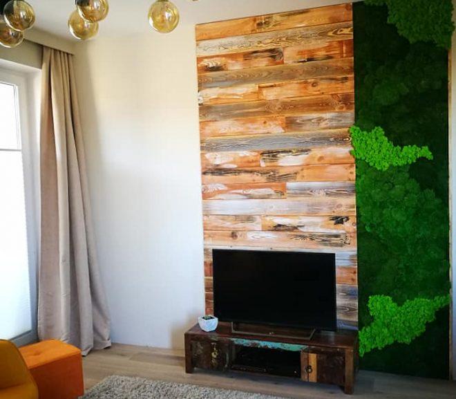 Zielona ściana w mieszkaniu. Mech stabilizowany.