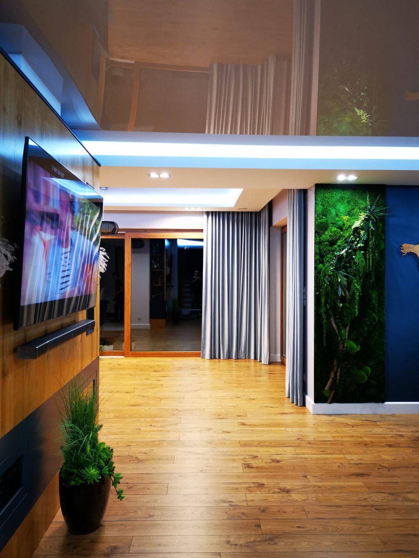 Widok na salon tv . Zielona ściana z roślinami stabilizowanymi.