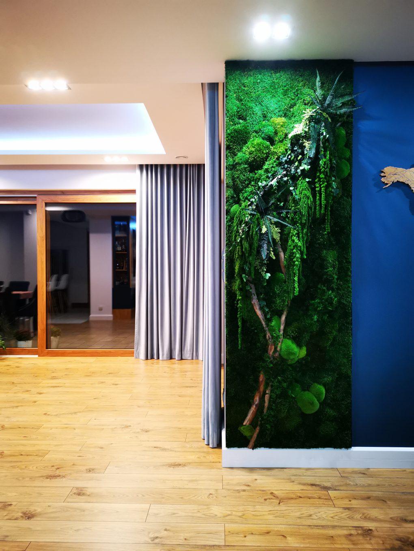 Widok ściany z roślinami stabilizowanymi w salonie