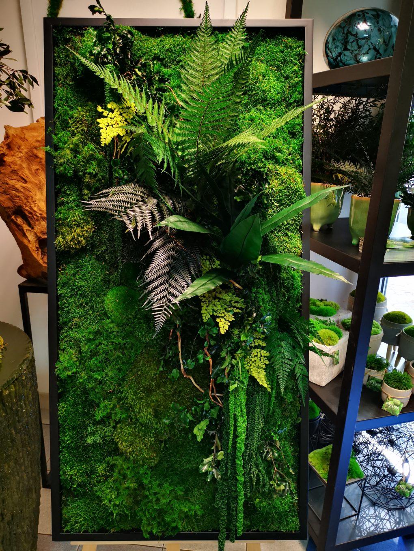 Kompozycja z roślin stabilizowanych oraż różorodnych gatunków mchów.